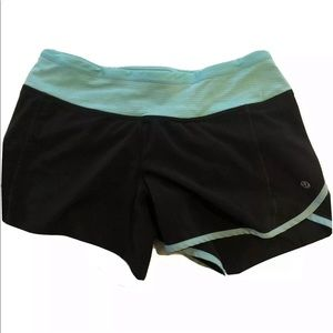 Lululemon Run Speed Up Shorts Black Blue Lined
